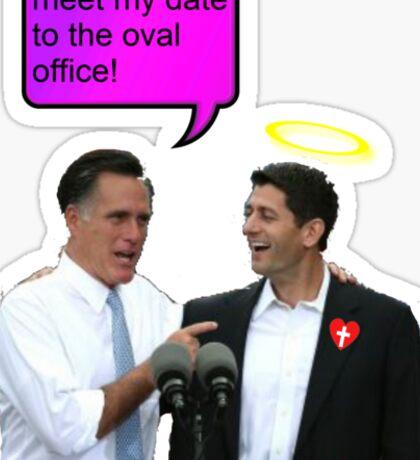 romney ryan 2012 oval office funny date Sticker