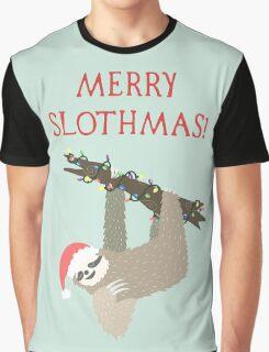 Merry Slothmas - Funny Sloth Christmas - Christmas Sloth - Animal Christmas Graphic T-Shirt