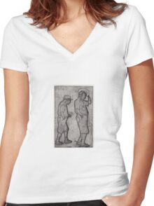 A Man Looks Up Women's Fitted V-Neck T-Shirt