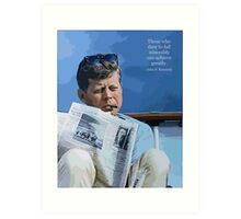 Painting John F. Kennedy and quotation Art Print