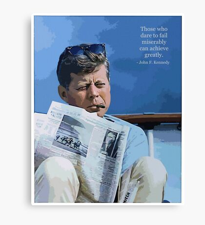 Painting John F. Kennedy and quotation Canvas Print