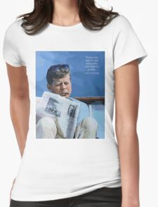 Painting John F. Kennedy and quotation Womens Fitted T-Shirt