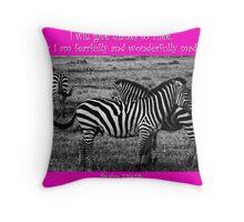 1 John 4:19 Zebras with Hot Pink Border Throw Pillow