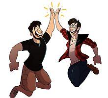 Dandy and Kia High Five! by FoolishCaptnKia