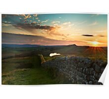 Hadrian's Wall winds over Hotbank Crag Poster