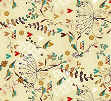 Pastel Colors Retro Cute Flowers, Hearts And Birds Pattern by artonwear