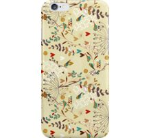 Pastel Colors Retro Cute Flowers, Hearts And Birds Pattern iPhone Case/Skin