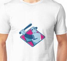 baseball player with bat batting retro style Unisex T-Shirt