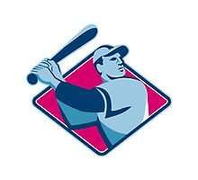 baseball player with bat batting retro style by retrovectors