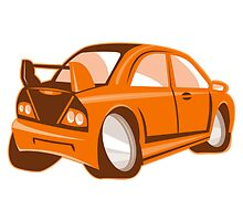 Cartoon style sports car isolated by retrovectors