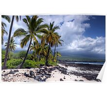 Storm clouds on a lava beach Poster