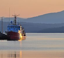 Coastguard ship and a sunset by fearonwoodphoto