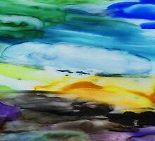 Peaceful Landscape Abstract Watercolor Painting by Irina Sztukowski