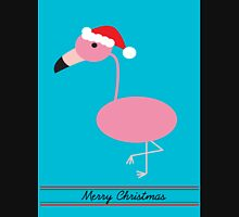 Merry Christmas Pink Flamingos with Santa Hat Unisex T-Shirt