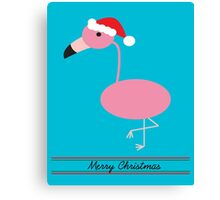 Merry Christmas Pink Flamingos with Santa Hat Canvas Print
