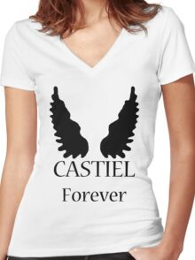 Castiel Forever Women's Fitted V-Neck T-Shirt