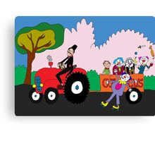 Tractor load of clowns Canvas Print