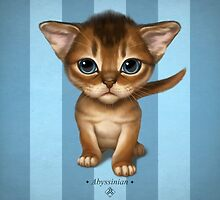 Cataclysm - Abyssinian Kitten - Turquoise Stripes by Iker Paz Studio