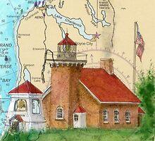 Little Traverse Lighthouse MI Chart Cathy Peek by Cathy Peek