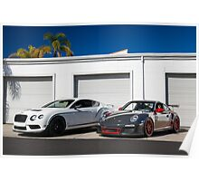 Bentley Continental GT3R and Porsche GT3RS Poster