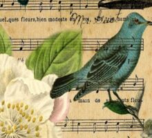 vintage Bird butterfly rose music notes Paris Sticker