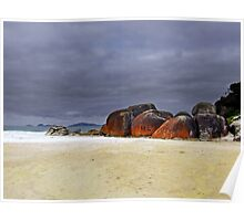 Red Lichen at Wilson's Promontory Poster
