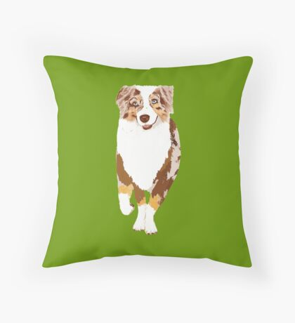 Running Red Merle Australian Shepherd Throw Pillow