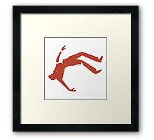 Retro Design Of Man Falling Framed Print