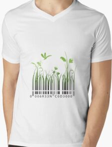 Green Barcode Mens V-Neck T-Shirt