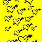 Black hearts with arrows by Paula J James
