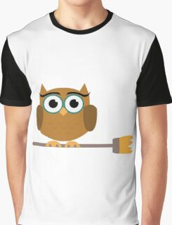 Owl on the broom Graphic T-Shirt