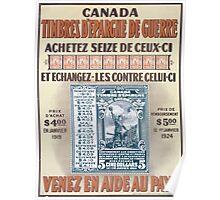 Canada timbres depargne de guerre Venez en aide au pays Poster