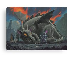 dragon looking at next meal Canvas Print