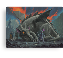 dragon looking at next meal Canvas Print