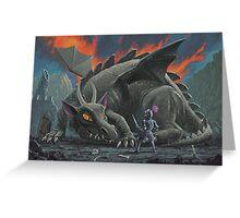 dragon looking at next meal Greeting Card