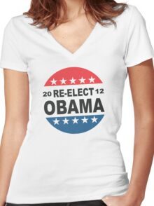 Re-Elect Obama Button Shirt Women's Fitted V-Neck T-Shirt