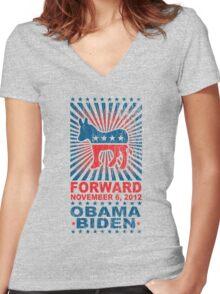 Obama Forward 2012 Women's Shirt Women's Fitted V-Neck T-Shirt
