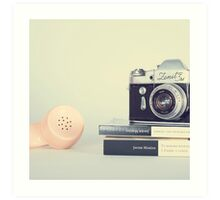 Vintage Camera and Retro Telephone  Art Print