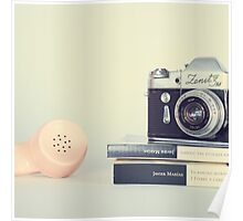 Vintage Camera and Retro Telephone  Poster