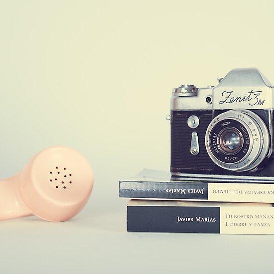 Vintage Camera and Retro Telephone  by Caroline Mint