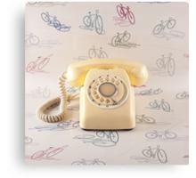Retro Yellow Telephone  Canvas Print