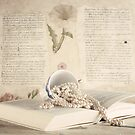 Vintage Still Life with Pearls and Book  by Andreka