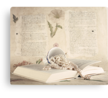 Vintage Still Life with Pearls and Book  Canvas Print
