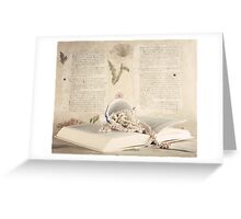 Vintage Still Life with Pearls and Book  Greeting Card