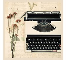 Retro Typewriter and Dried Flowers  Photographic Print