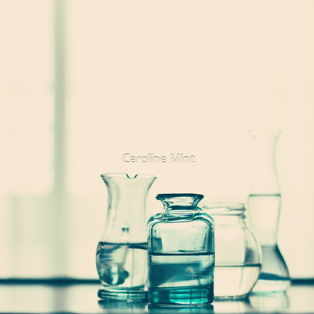 Glass Bottles with Water  by Caroline Mint