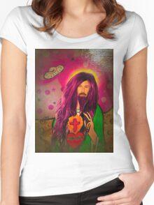 Keanu Jesus Antique Oil Women's Fitted Scoop T-Shirt