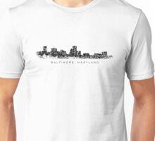 Baltimore, Maryland City Skyline Vintage Black Unisex T-Shirt