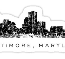 Baltimore, Maryland City Skyline Vintage Black Sticker
