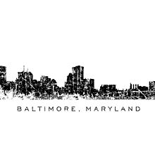 Baltimore, Maryland City Skyline Vintage Black by theshirtshops
